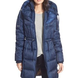 Betsey Johnson Quilted Puffer Coat Navy Large Hood